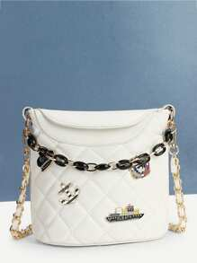 Patch Detail Quilted Chain Bag