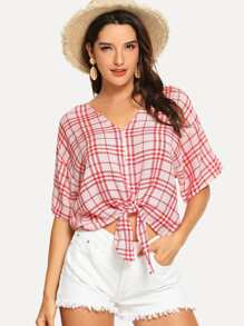 Button Up Knot Hem Plaid Blouse