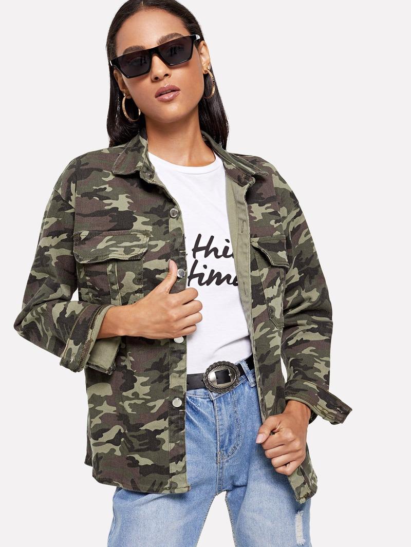 Jean Camouflage Devant Avec Poche Blouson Imprimé En jSGUMqpLzV