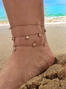 Star Detail Anklet Chain Set 3pcs