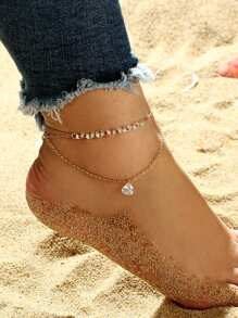 Rhinestone Detail Layered Anklet Chain