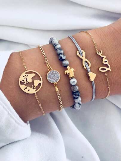 Infinity & Earth Bracelet Set 5pcs