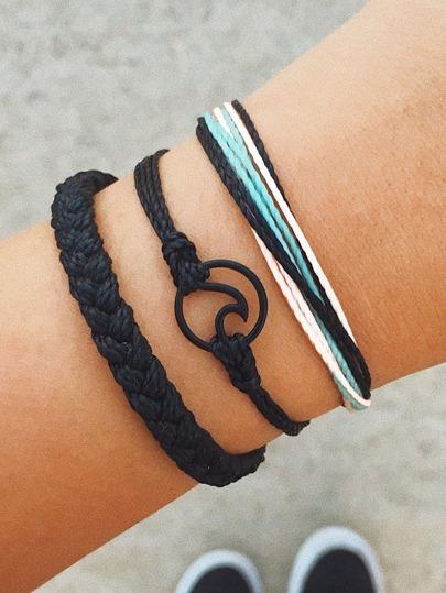 23833c254d Circle Detail Woven Bracelet Set 3pcs