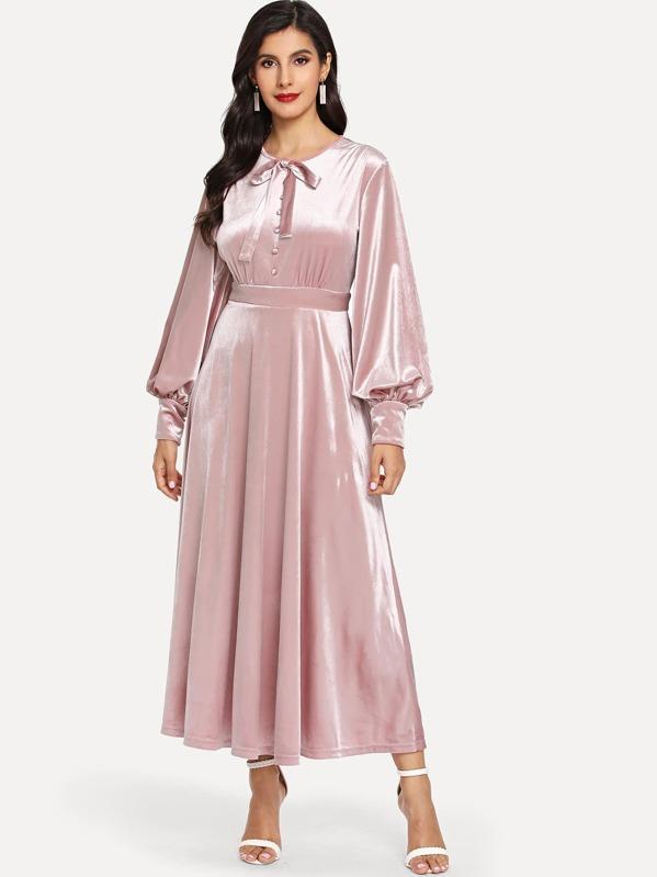49db9c612 فستان الحرير أكمام الأسقف ربط العنق   شي إن