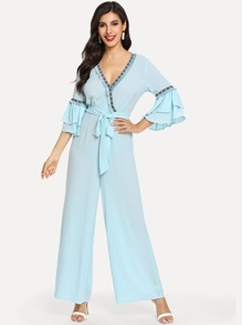 Embroidered Tape Trim Bell Sleeve Wrap Jumpsuit