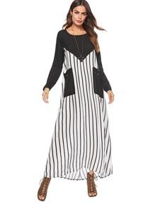 Striped Pocket Longline Dress