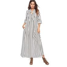Button Front Striped Maxi Shirt Dress