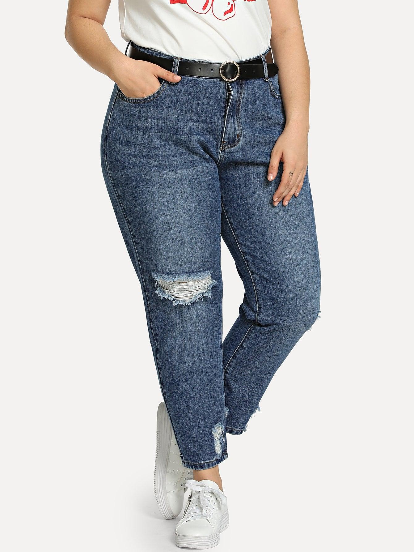 bergro e zerrissene jeans mit bleichen german shein sheinside. Black Bedroom Furniture Sets. Home Design Ideas