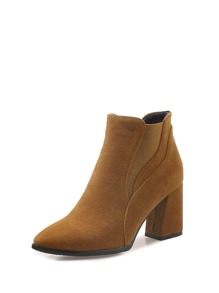 Pointed Toe Chunky Heeled Boots