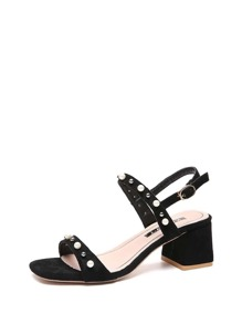 Faux Pearl Block Heeled Sandals