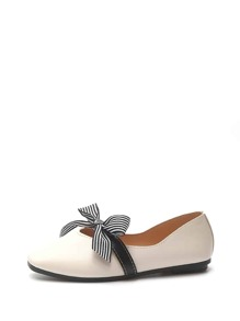 Striped Bow Decor Ballet Flats