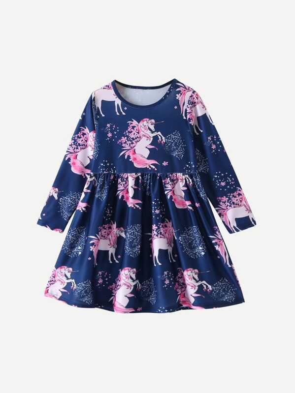 5e4482dd887d Toddler Girls Unicorn Print Dress | SHEIN