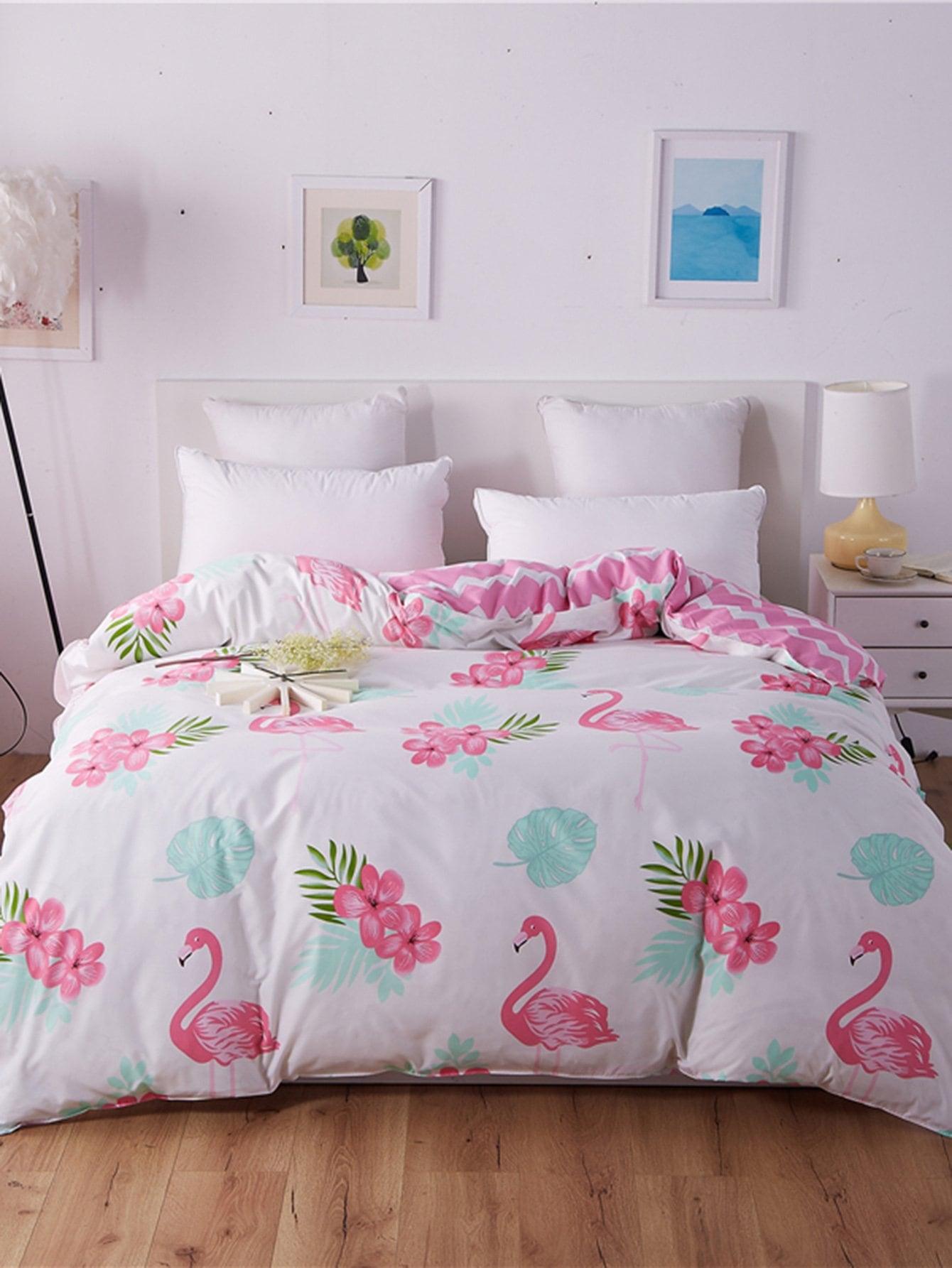 bettbezug mit flamingos und blumen muster 1pc german shein sheinside. Black Bedroom Furniture Sets. Home Design Ideas