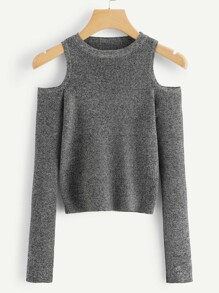 Open Shoulder Ribbed Jumper