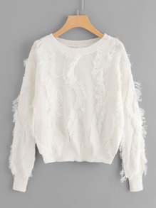 Fringe Trim Knit Sweater
