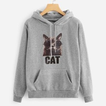 INOpets.com Anything for Pets Parents & Their Pets Cat Print Kangaroo Pocket Hoodie
