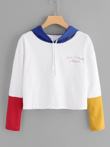 Slogan Embroidered Color Block Hoodie
