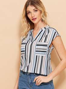 Striped Pocket V Neck Blouse