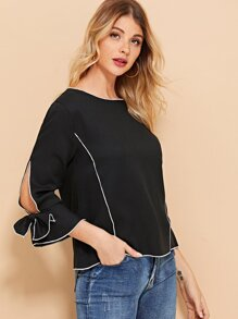 Bow Detail Split Sleeve Colorblock Blouse