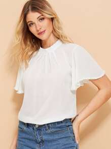 Pearl Beaded Detail Solid Blouse