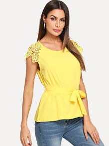 Self Tie Waist Contrast Lace Blouse
