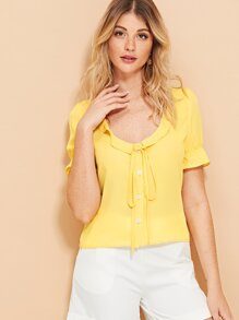 Knot Neck Single Breasted Blouse