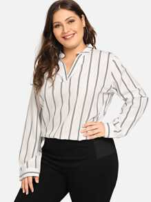 Plus V Neck Striped Blouse
