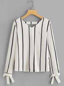 Bow Detail Cuff Striped Blouse