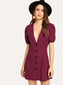 Deep V Neck Button Front Dress