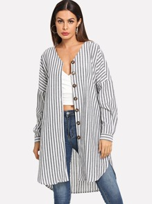 Drop Shoulder Striped Coat