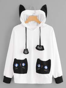 Cat Print Pocket Decoration Hooded Sweatshirt