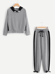 Bow Detail Hoodie Top With Drawstring Pants