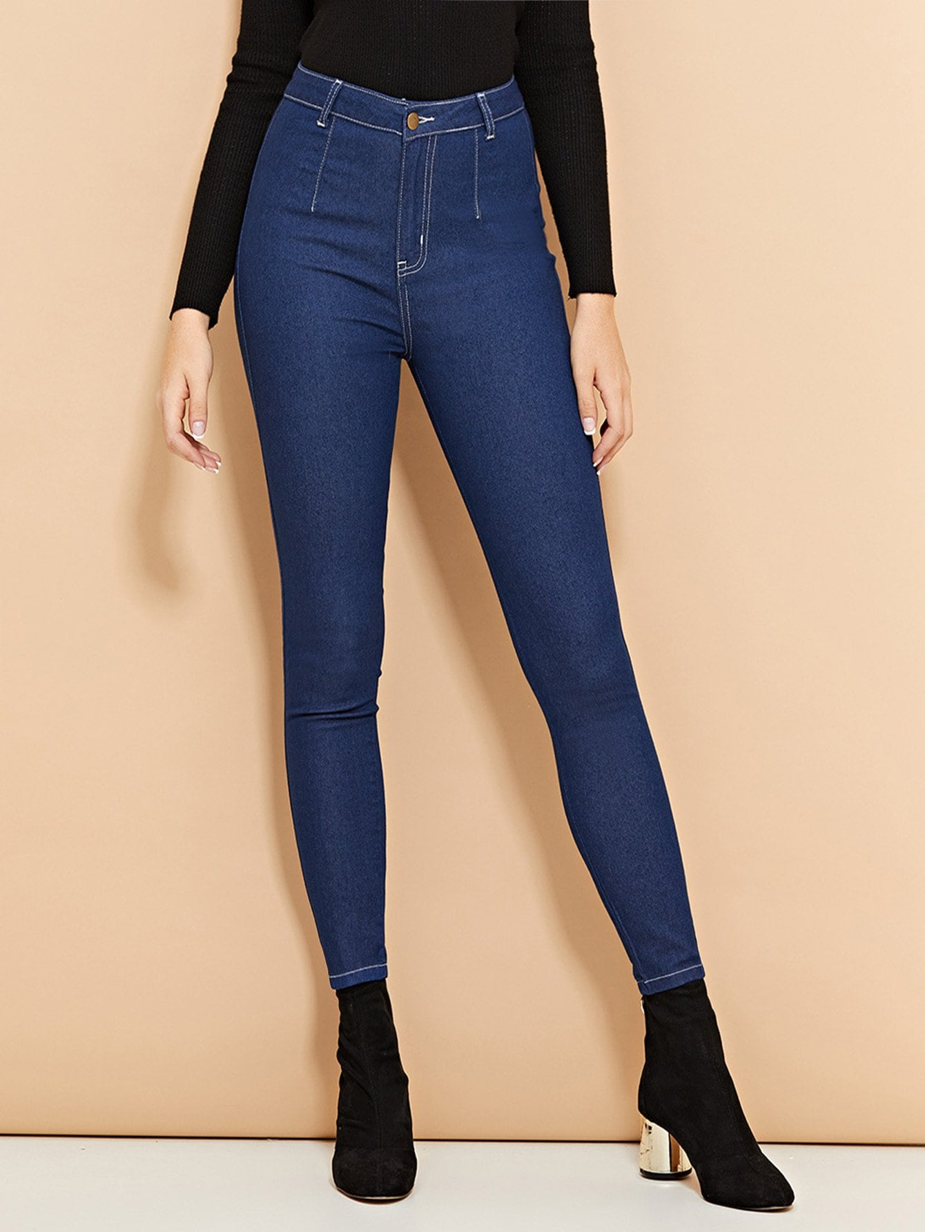 SHEIN High Waist Buttoned Skinny Jeans