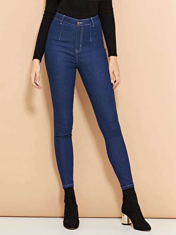 29a5ed3b83 High Waist Buttoned Skinny Jeans