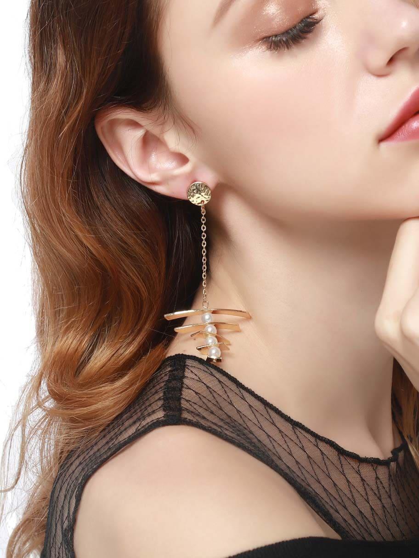 Boucles d 39 oreille en couches avec fausse perle french shein sheinside - Fausse couche avec sterilet ...