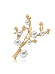Faux Pearl Branch Brooch