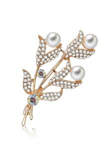 Faux Pearl & Gemstone Leaf Brooch