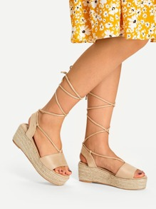 Lace Up Espadrille Flatform Wedge Sandals