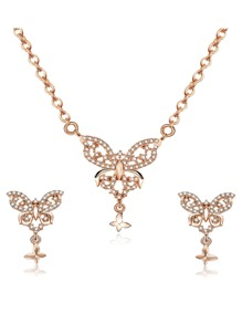 Butterfly Pendant Necklace & Earrings