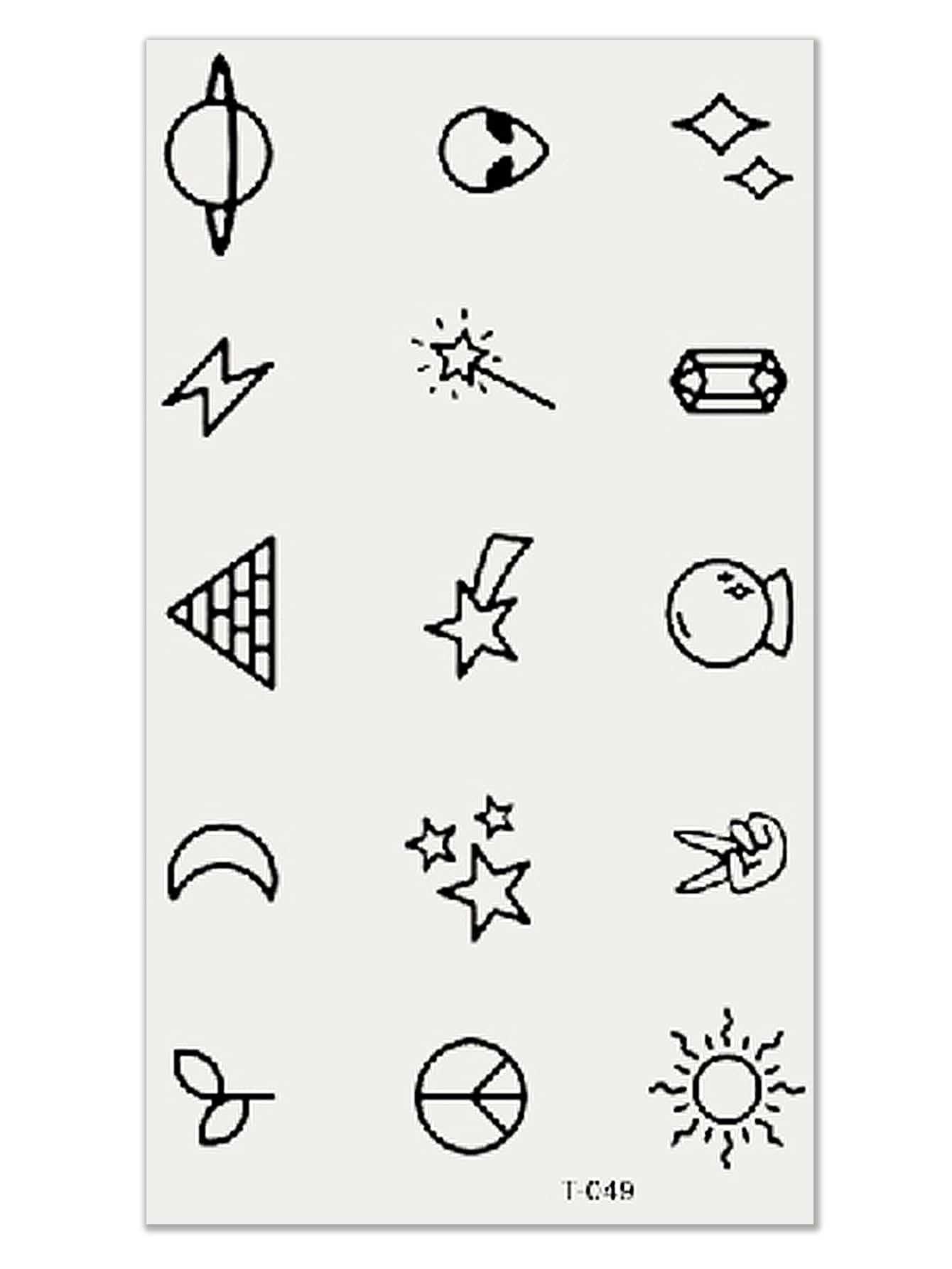 Cartoon Planet Tattoo Sticker Set 5pcs