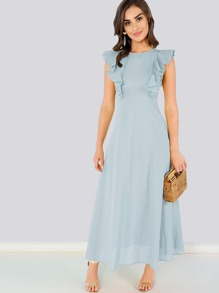 Ruffle Armhole Fit and Flare Dress