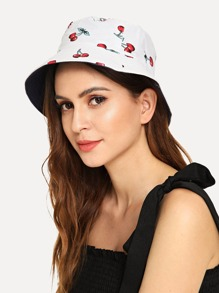 Cherry Print Bucket Hat