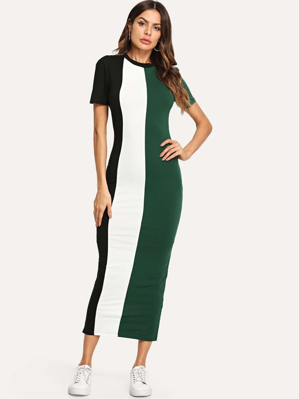 Cut And Sew Slit Back Fitted Dress by Shein