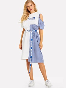 Contrast Stripe Letter Ribbon Belt Longline Blouse