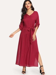 Solid Split Side Tie Waist Dress