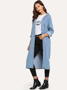 Button Front Hooded Longline Coat