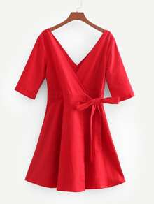 Double V Neckline Wrap Dress