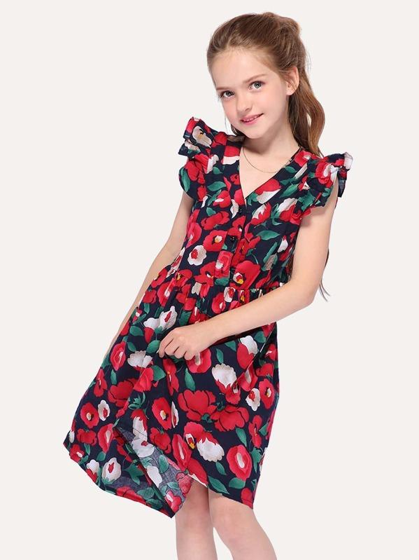 Vestido De Niñas De Manga Fruncido Con Estampado Floral