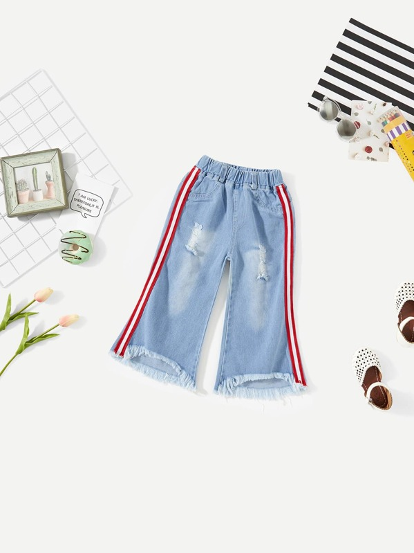 67f48d4e68 Toddler Girls Fringe Hem Striped Tape Side Jeans | SHEIN