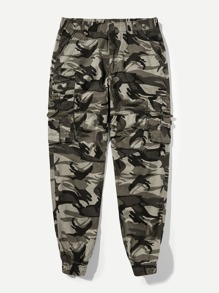 Men Elastic Waist Camo Pants